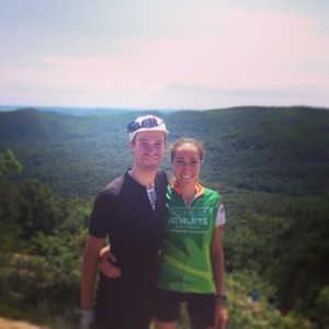 Jenna and her brother, Nicholas, cycling to the top of Bear Mountain