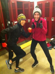 Jenna and her teammate, Meg, bundled up and ready for a freezing cold and very fun run