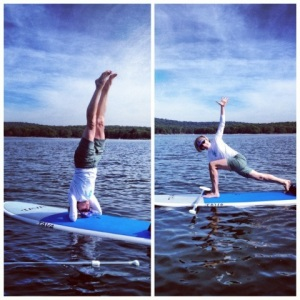 Tara's mom, Alice, casually doing yoga on a paddle board in the middle of the lake