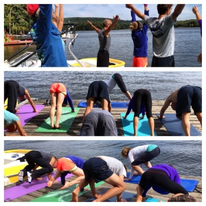 morning yoga on the dock at Deep Creek Lake with family